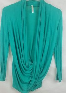 Women's Ginger G Green Deep Cowl blouse Size S